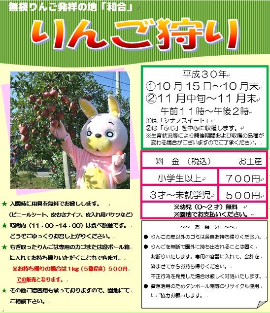 【朝日町】平成30年度りんご狩りのご案内:画像