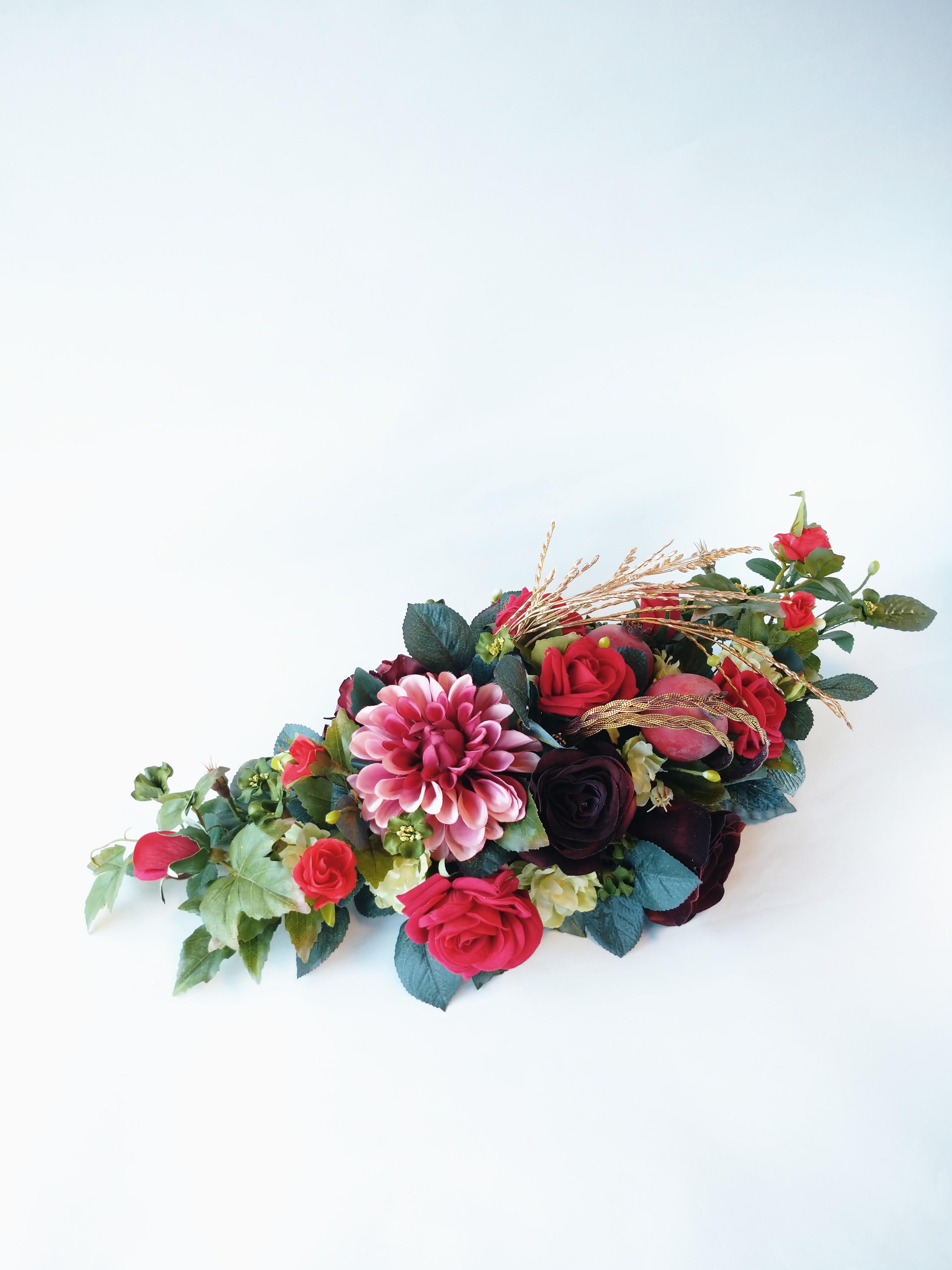 赤い薔薇と華麗なダリア/アーテイフィッシャルフラワー