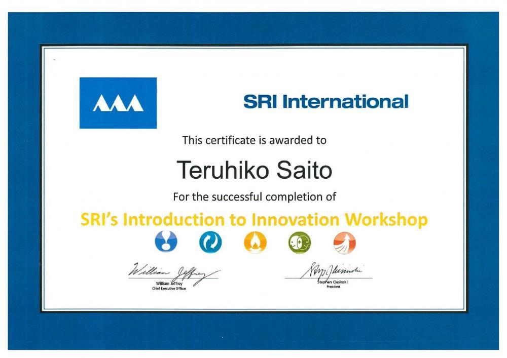 ECOVENT代表がSRI Internationaiの Introduction to Innovation Workshopを履修しました。:画像