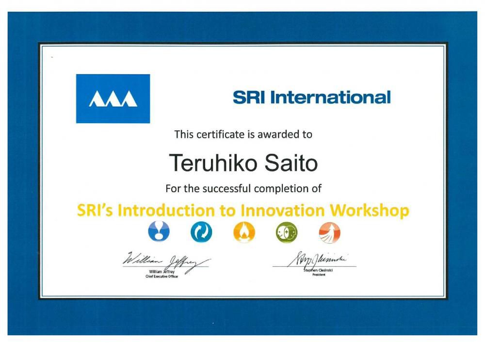 ECOVENT代表がSRI Internationaiの Introduction to Innovation Workshopを履修しました。