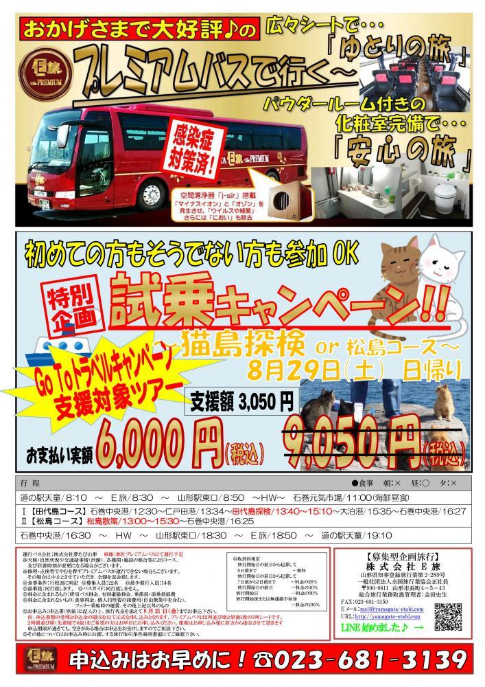 プレミアムバスで行く!試乗ツアー★〜猫島探検or松島散策〜:画像