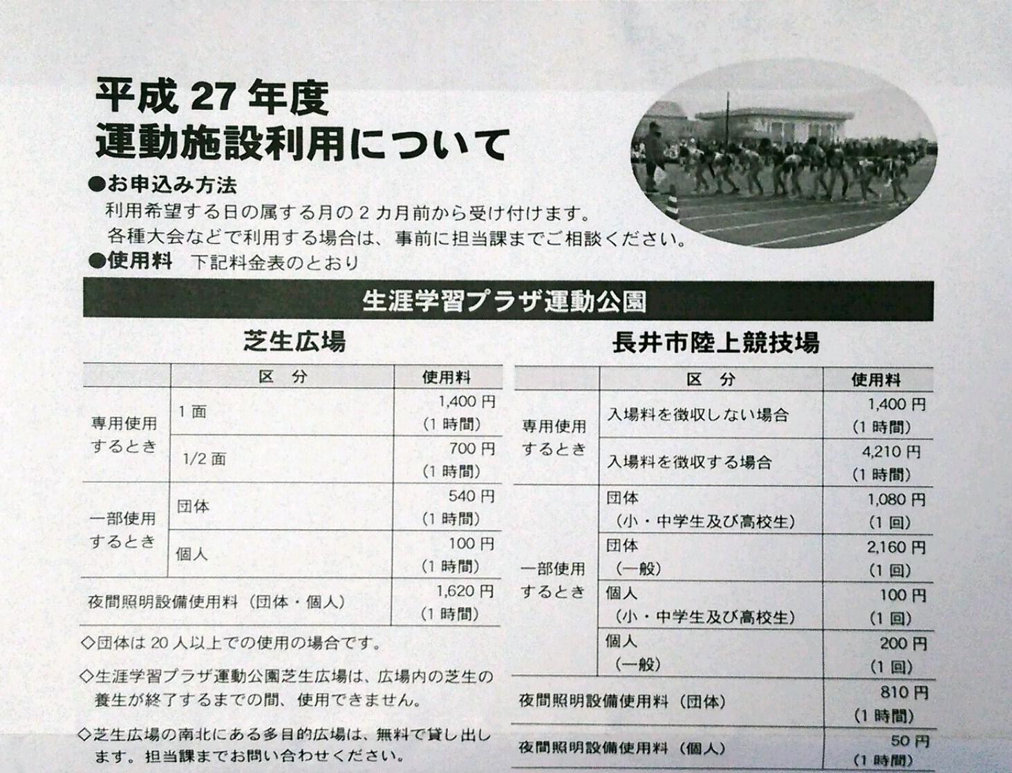 長井市陸上競技場 料金