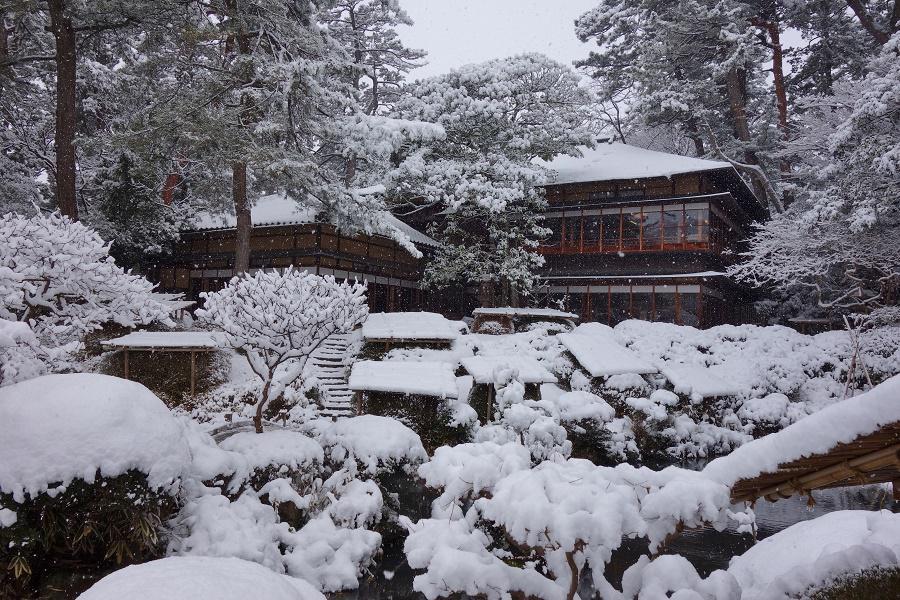 庭園に雪が積もりました。