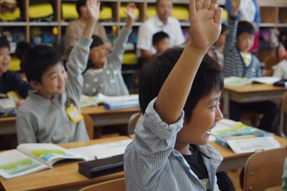 1年生の国語の授業「けんかした山」