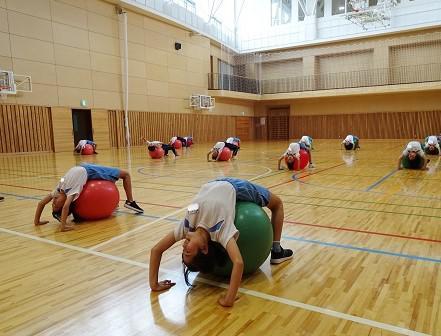 バランスボール運動に取り組みました!