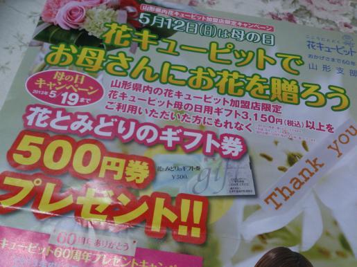 2013/05/03 12:49/母の日は花キューピットの贈り物で決まり!!