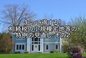 「知って得する!相続税の小規模宅地等の特例の見直し:その2」の画像