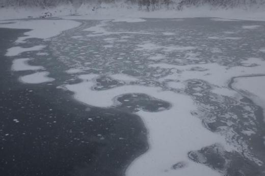 湖面に氷伸長/