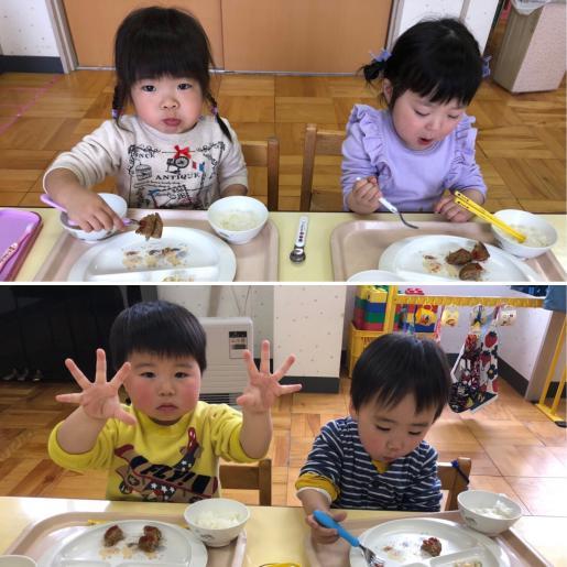 2019/04/11 19:26/はじめての給食〔こねこぐみ〕