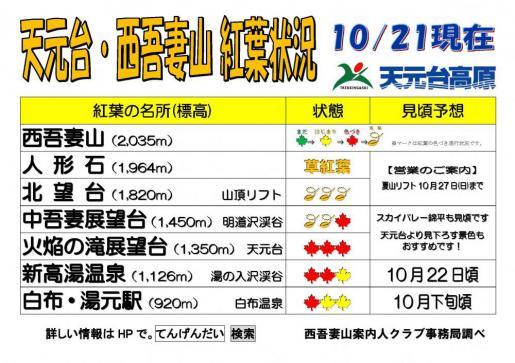 2019/10/21 15:26/西吾妻山天元台紅葉情報(予想)10月21日更新