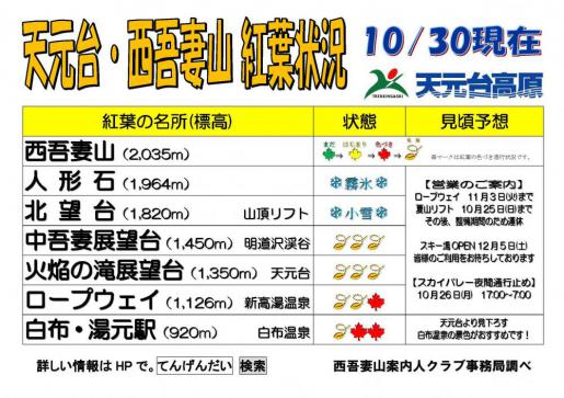 2020/10/30 12:26/西吾妻山天元台紅葉情報(今季最終)10月30日更新