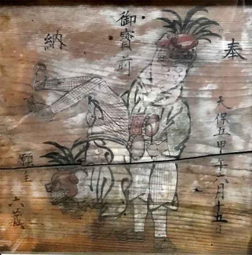 川原沢巨四王神社の獅子踊り絵馬/