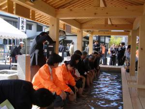 「天童温泉に足湯オープン」の画像