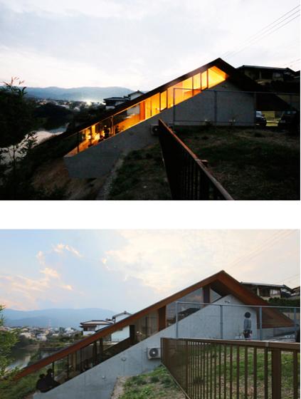 外部内部空間の高低差建築物のアイディア/