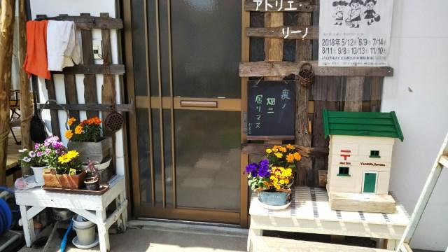 玄関ポストと花