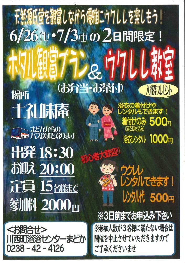 ホタル鑑賞プラン&ウクレレ教室