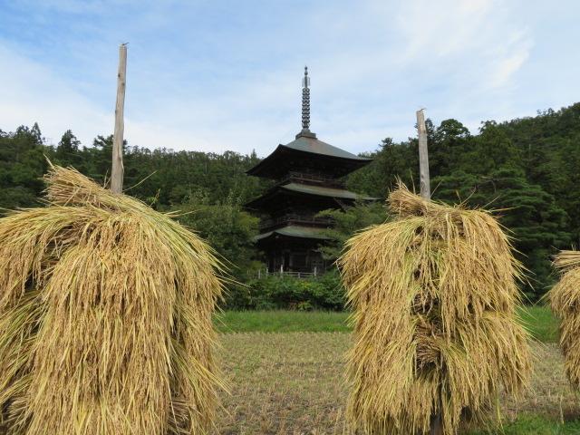 三重塔と稲杭:画像