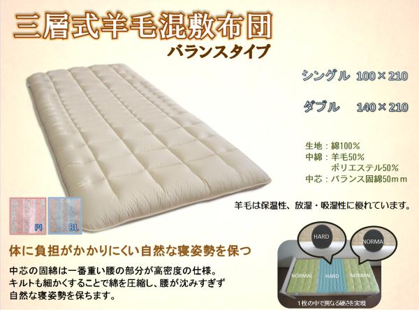 ダブルサイズ三層式羊毛混敷布団(バランスタイプ):画像