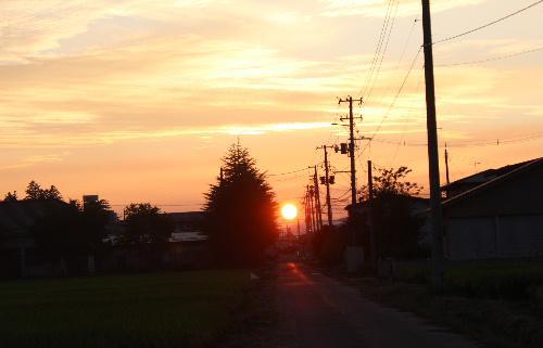 ようやく秋の夕焼け 東の空には三日月、夕日に映えるススキの穂もほんのり色づいている/