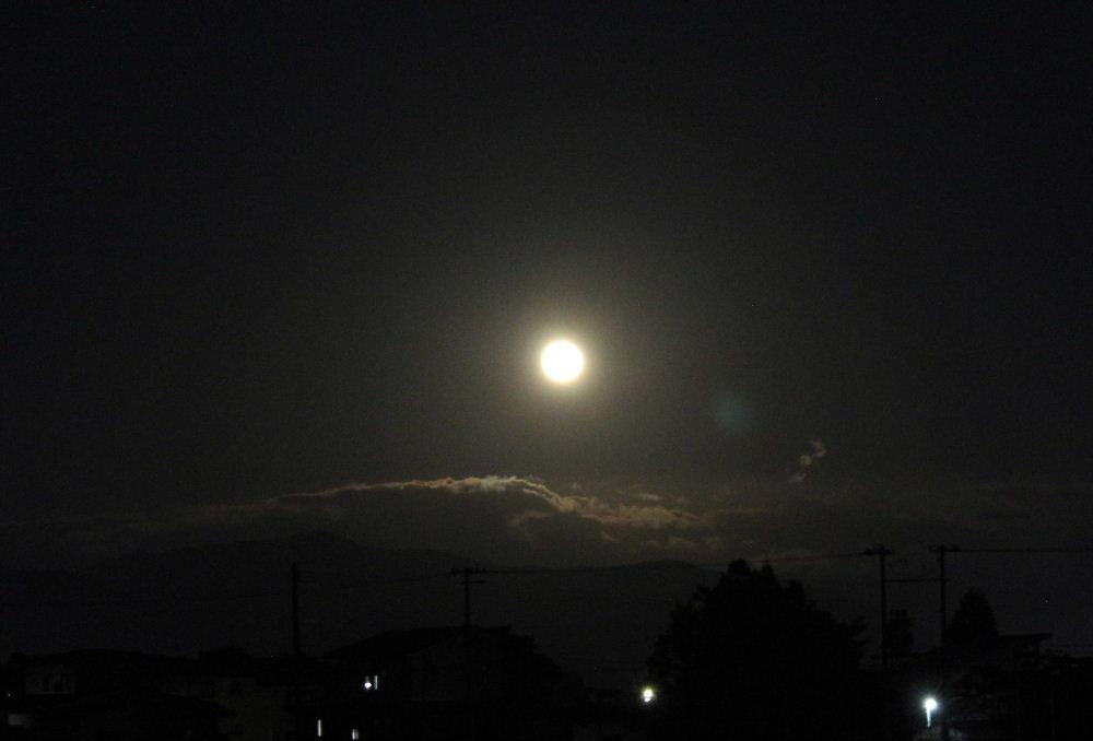 昨夜は中秋の名月 オレンジ色の満月の月が東の空からのぼりました 手前には電照栽培のビニールハウスがあり三脚の準備もないままの撮影で 残念ながら昨夜の雰囲気を伝えることができません 皆さんお月さまを眺めましたか