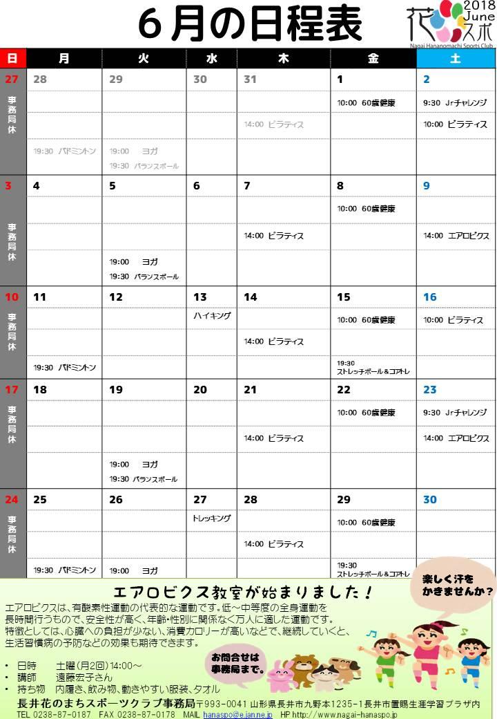 6月の日程表:画像