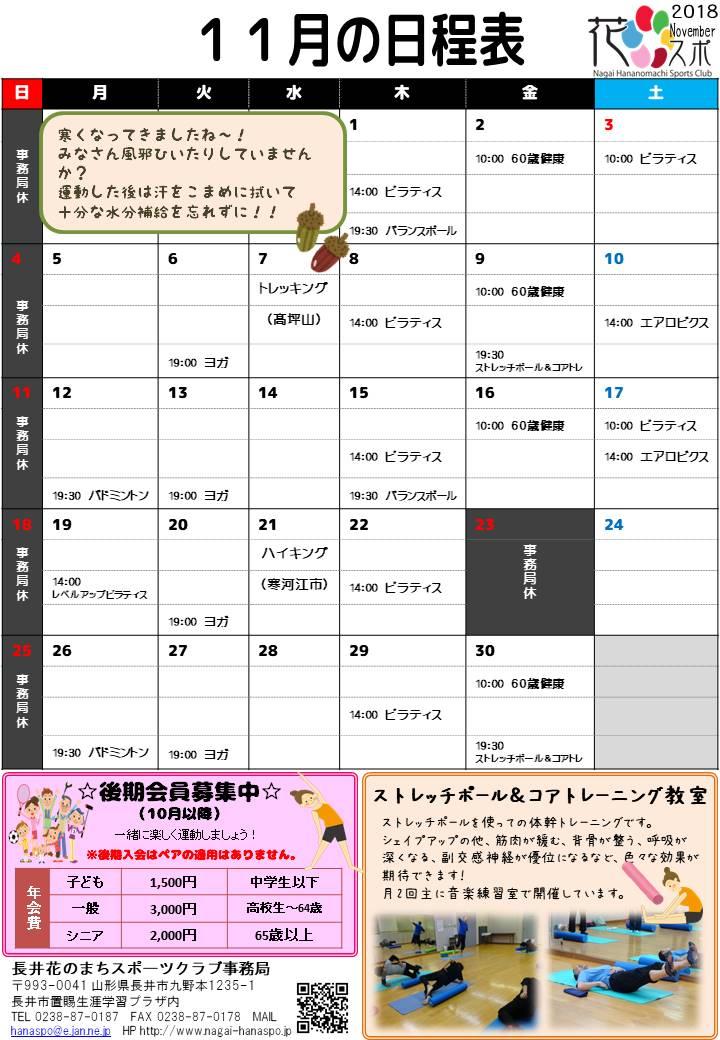 11月の日程表ができました。:画像