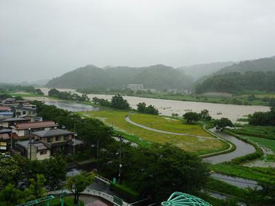 【大雨の長井市】