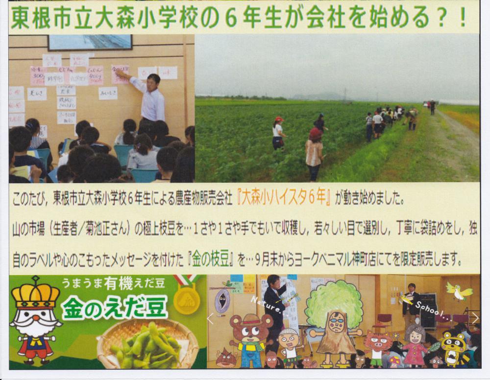 「大森小ハイスタ6年」による金の枝豆販売のお知らせ