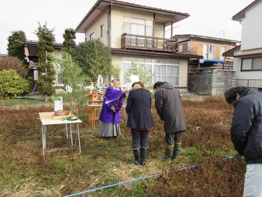 新年最初の地鎮祭「私のしろい家」飯塚。