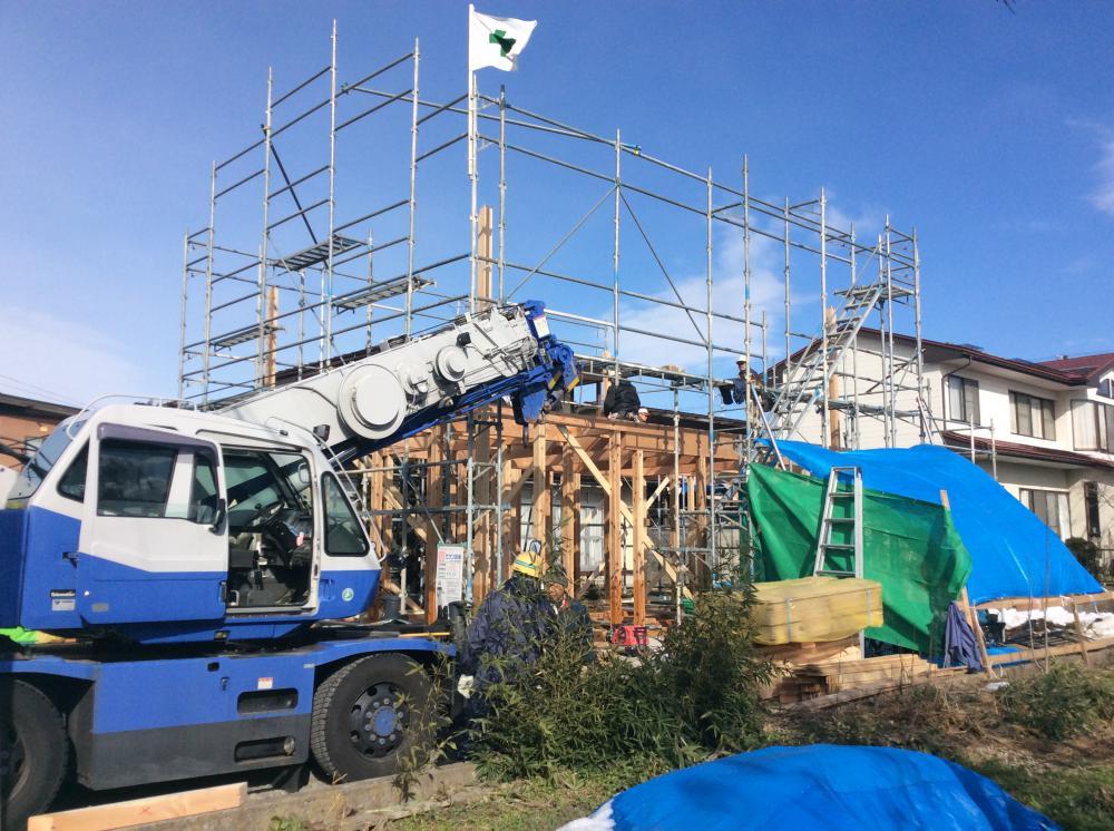 「私のしろい家」飯塚。建て方開始!