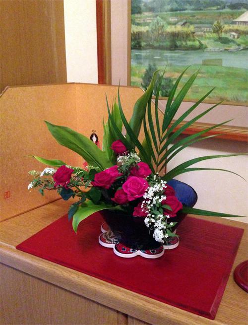 記念のお花で生け花
