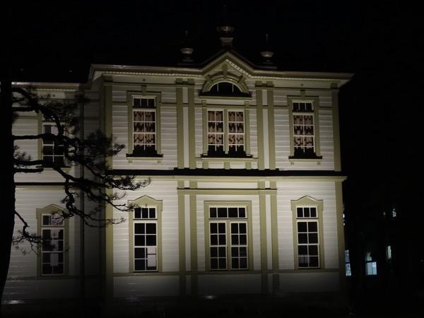 旧米沢工業高等学校の本館(重要文化財)のライトアップ