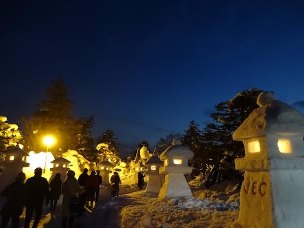 上杉伯爵邸の雪灯篭