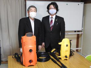 長井青年会議所様より高圧洗浄機・折りたたみポリタンクをいただきました!/