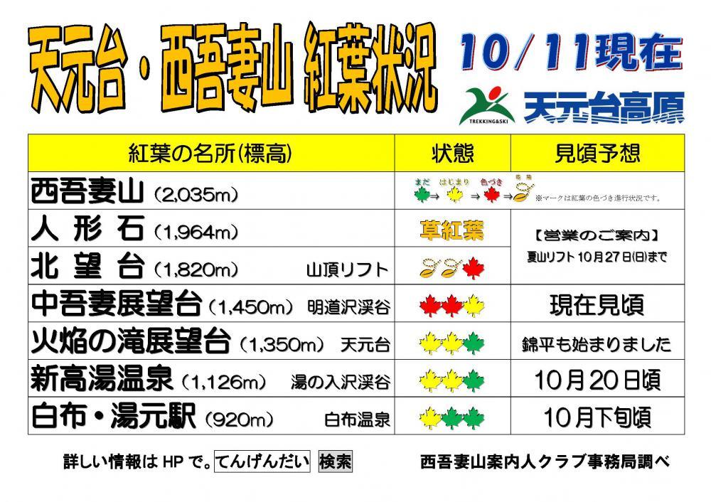西吾妻山天元台紅葉情報(予想)10月11日更新:画像