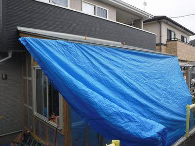 【郡山市・Tさん宅の増築 】 現場の雨対策:画像