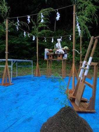 【田村市常葉町・シンプルノートI邸】木々に囲まれた穏やかな地鎮祭:画像