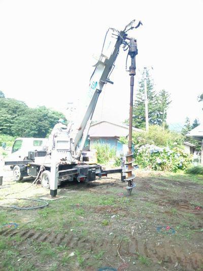 【田村市常葉町・シンプルノートI邸】砕石パイルによる地盤改良工事:画像
