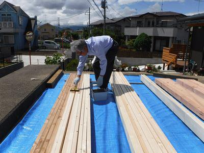 【郡山市台新・Sさん宅の改造 】デッキ増床! 施主による塗装作業:画像