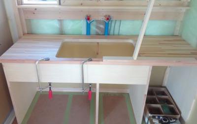 【郡山市田村町・ドミノS邸 】 大工が作る洗面カウンター:画像