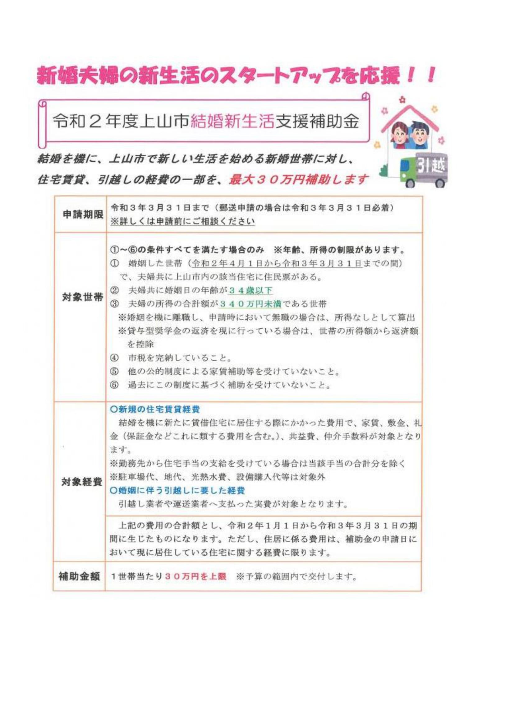 上山市 結婚新生活支援補助金のご案内:画像