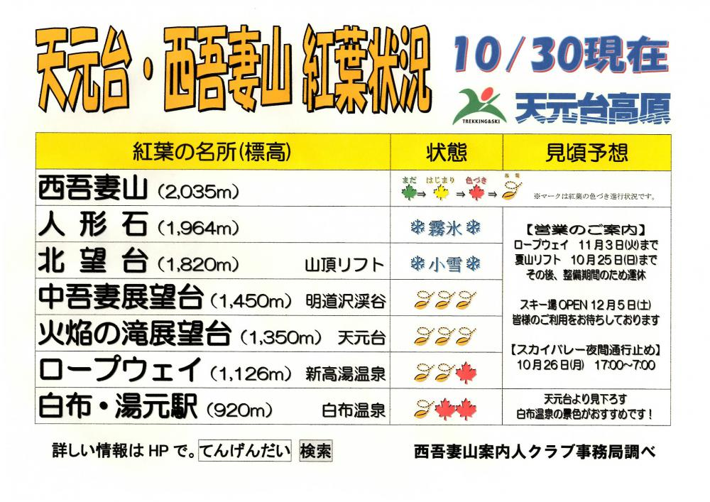 天元台・西吾妻山 紅葉情報(10/30現在):画像