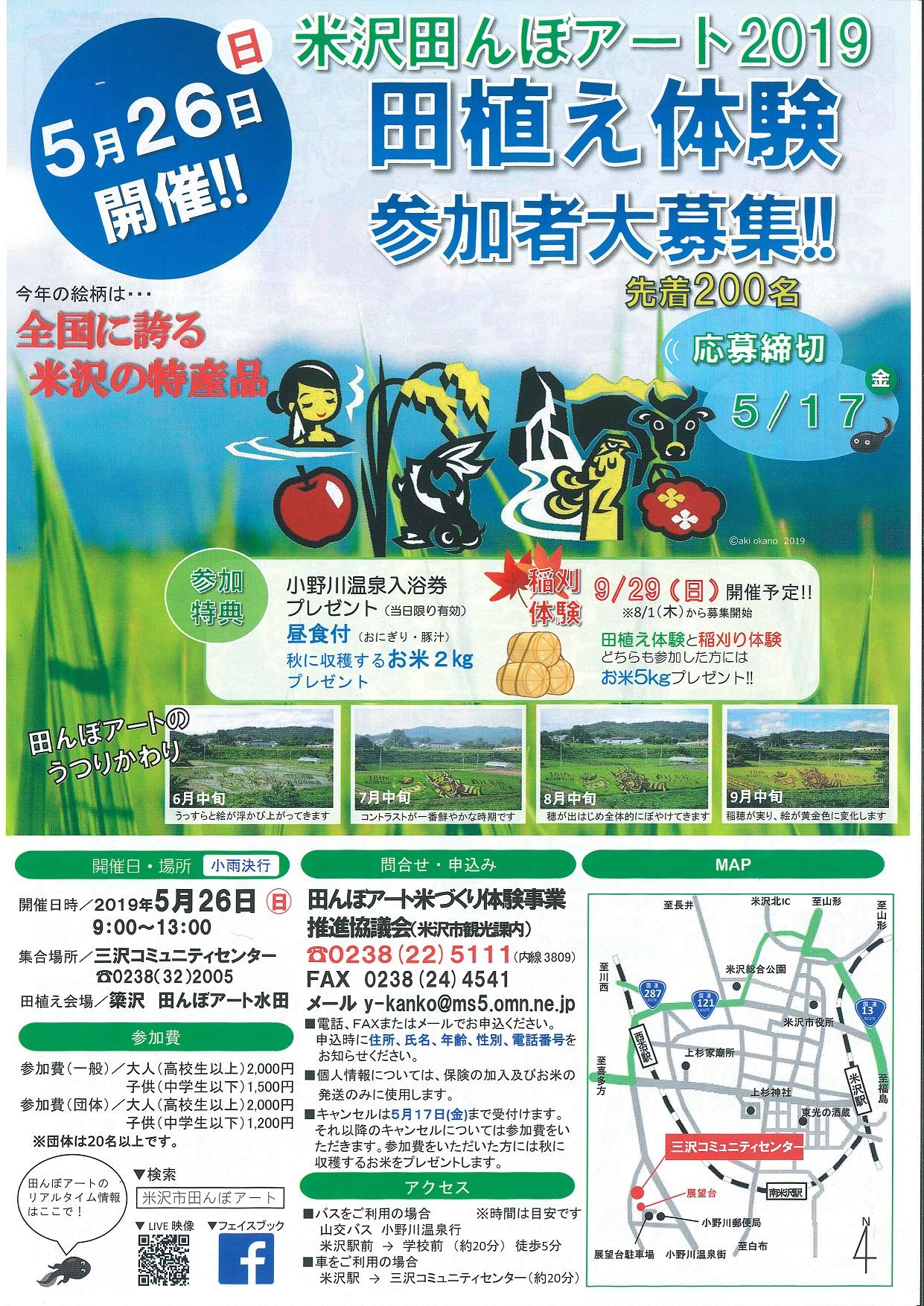 田んぼアート2019 田植え体験実施!参加者大募集!:画像