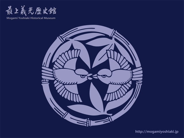 「【壁紙】家紋 竹に雀(紺バージョン)」の画像