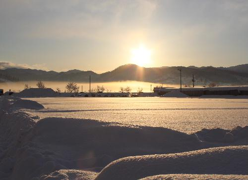 厳しい寒さが続きます 朝日が眩しい 霧氷がキラキラ 朝のひと時/