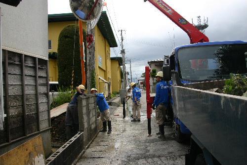臨雲文庫北側のブロック塀を改修