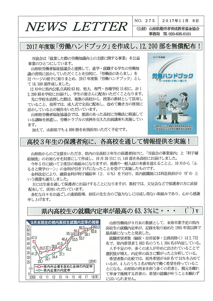 NEWS LETTER No.275 を発行しました