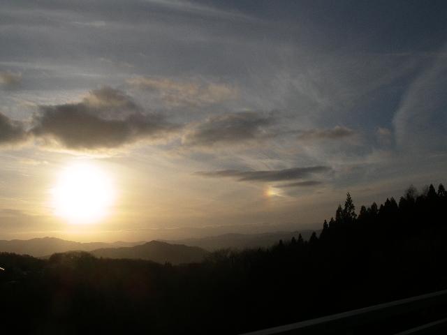 夕日と彩雲